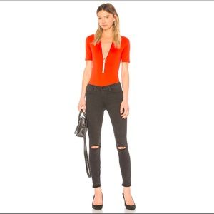 Frame Zip Up Bodysuit in Red Size Small